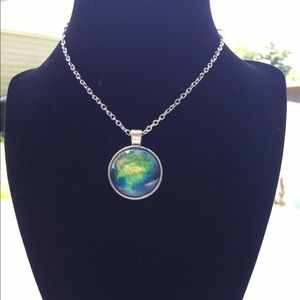 Nebula Galaxy Space Theme Silver Necklace Pendant